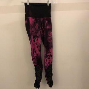 Lululemon pink and black tie dye legging, sz 2